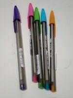 Lote 5 boligrafos bic 1.6 mm cristal colores original boli boligrafo tinta fluo