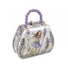 Girls Flower Fairy Magical Mystical Storage Tin Handbag With Lilac Beaded Handle