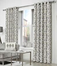"""Fusion """"Haldon"""" Floral 100% Cotton Fully Lined Eyelet Curtains Natural"""
