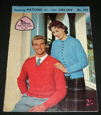 VINTAGE 1950s  PATONS KNITTING BOOK  #534  FAMILY TOPS JUMPERS , CARDIGANS
