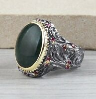 Heavy Ruby Emerald Stone Turkish Handmade 925 Sterling Silver Mens Ring ALL SİZE