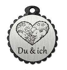 Deko Anhänger « DU & ICH » Mäuse Freundschaft Geschenk Liebe Geschenkanhänger