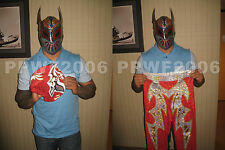 WWE SIN CARA RING WORN SIGNED MASK TIGHTS ARM BANDS W/PROOF 5