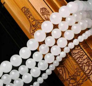 "4-14mm Smooth Natural Round Jade Jewelry Making Loose Gemstone Beads 15"" white"