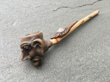 "Vintage Carved Face Wood/ Bamboo Smoking Pipe 7.25"" Length"