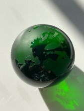 Etched Glass World Globe Paperweight Emerald Green