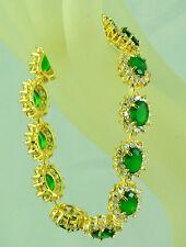 FASHION JEWELRY GEM 14K YELLOW GOLD GREEN EMERALD Sapphire BANGLE BRACELET B76