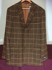 Brooks Bros 42 L 100% Wool Windowpane Sport Coat 3 Button Brown Plaids & Checks