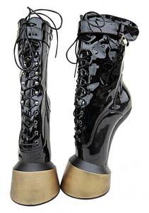 Ballettstiefel Extrem Pony High Heels Boots schwarz Kassiopeya Schuhe Clubwear