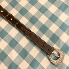 Western Style Studded Leather Calf Hair Belt Size Small
