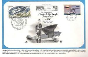 US & France Charles Lindbergh 50th Anniversary Flight Cover & Folio