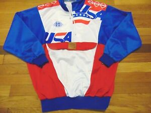 VINTAGE 1991 TEAM ISSUED WORLD CUP OF HOCKEY TEAM USA TAKLA TRACK JACKET SIZE L