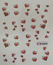 Accessoire ongles: nail art - Stickers autocollants -motifs coeur rouge et blanc