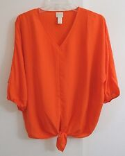 womens orange CHICOS shirt top blouse tunic tie lightweight casual petite S 1