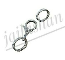 Oxide 925 Sterling Silver Pave Diamond Lock Lobster Clasp Jewelry With 2 Links