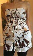 Topshop Motel sailor nautical summer dress strapless bandeau top XS 8