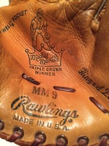 Mickey Mantle Triple Crown Winner MM9 Rawlings Vintage Baseball Glove