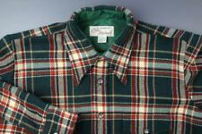 Vintage 70s Acrylic Plaid Shirt Carl Michaels Pockets Men's M 15-15-1/2 Green