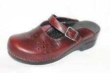 Dansko Merrie Burgundy Leather Mary Jane Clogs Mules Women EUR 40 / 9.5-10