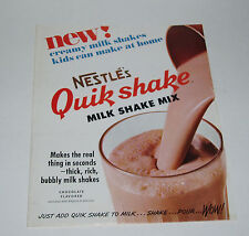 1960's Nestle's QUIK SHAKE Store Poster and Sales Folder