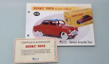 DINKY TOYS ATLAS 1/43 Fiche Fascicule Certificat réf 24UT Simca Aronde Taxi
