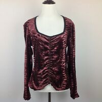 Vintage Baranda Top Womens Medium Stretch Velvet Velour Boho Animal Paisley