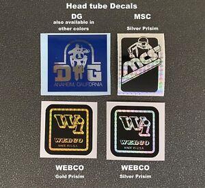 Webco Prisim,  MCS Magnum Prisim & DG Headtube Decals