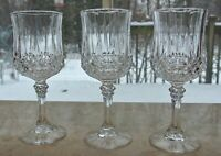 3 Cristal D'arques Longchamp Crystal Water/Wine Glasses DURAND 7-1/8""