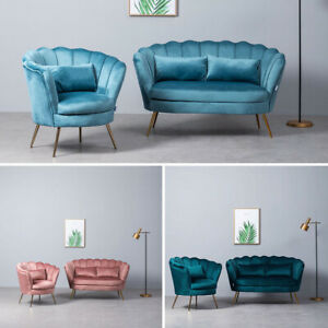 Velvet Upholstered Oyster Armchair Scallop Tub Chair Living Bed Room Sofa Lounge