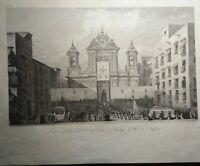 Incisione su rame Napoli Chiesa S. Filippo dal Saint Non 1836 (P466)