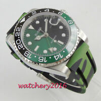 bliger 40mm black Green dial sapphire glass gmt date Automatic mens watch
