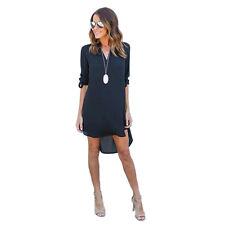 Women's Blouse Chiffon Long Sleeve Ladies T Shirt Loose Long Tops Dress Top US