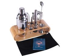 Bartender Kit 10-Piece Bar Tool Martini Cocktail Shaker Set Stylish Bamboo Stand