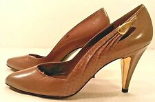 Vtg New STUART WEITZMAN 4 MARTINIQUE Taupe LEATHER Reptile Pump Shoes Women 7AAA