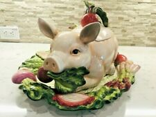 Fitz & Floyd - French Market Pig 4.5 Qt Soup Tureen, Lid, Ladle & Underplate