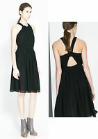 ZARA Black Loose Fit Knot Twist Open Back Knee Length Party Evening Dress XS M