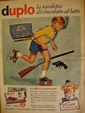 Duplo Ferrero, cioccolato+ figurina regalo pattini, pistole... - Pubblicità 1965