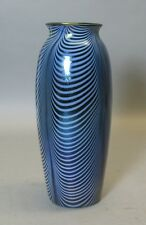 "Museum Quality Imperial 11"" Iridized Art Glass Blue Vase  c. 1925  Opal Drapes"