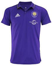 adidas MLS Men's Orlando City SC Climalite 3-Stripe Coaches Polo, Purple