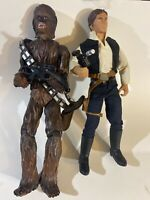 """Vintage 1999 Star Wars Power Of The Force 13"""" Chewbacca  And Han SoLo Set Nice!"""