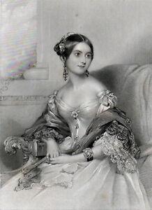 MRS GEORGE WINGFIELD 1842 William Henry Egleton - John Hayter ANTIQUE ENGRAVING