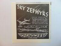 1937 NORTHWEST AIRLINES SKY ZEPHYRS airmail passenger service vtg art print ad