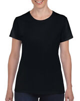 BLACK LADIES HEAVY COTTON T-SHIRT - Gildan 100% Cotton Womens Female TEE
