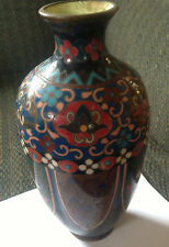 Antique Japanese Cloisonne Vase with Flowers, Trees and Birds