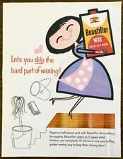 1957 Johnson's Wax Beautiflor Floor Wax PRINT AD Lets You Skip the Hard Part