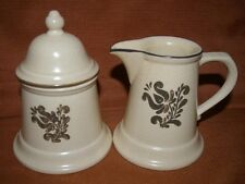 Pfaltzgraff Yellow and Brown Village Creamer 6-24 and Sugar With Lid 6-22