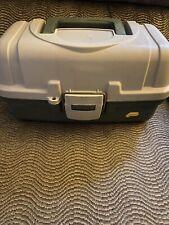 Vintage Tan/Green Plano 2-Tray plastic Fishing Tackle Box hobby lightweight