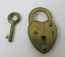 Vintage Heart Shaped Tiny Brass Lock Padlock and Skeleton Key Gold Tone