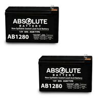 NEW 2 PACK 12V 8AH AB1280 SLA Battery replaces WKA12-8F2 DJW12-8HD TPH12080