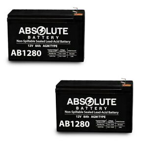 NEW 2 PACK 12V 8AH AB1280 F1 Battery Replacement for Powerware PW9125-24EBM.
